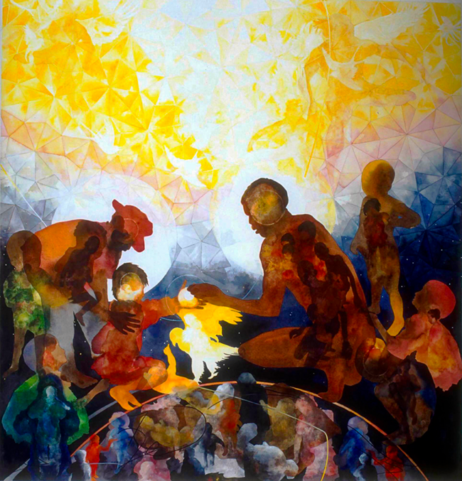Jalaliyyih Quinn, Heal the World, Watercolor on Arches, 42 x 45 inches