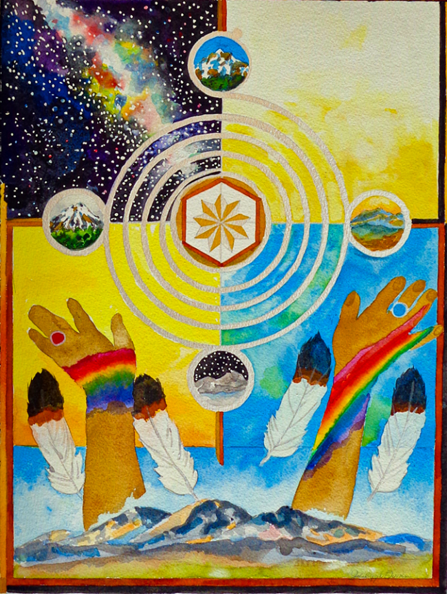 Jalaliyyih Quinn, Healing Prayer for Navajo Nation, Watercolor on Arches, 12 x 16 inches