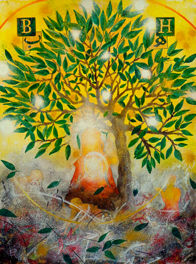 Jalaliyyih Quinn, The Healing Tree, Watercolor on Arches, 22 x 30 inches