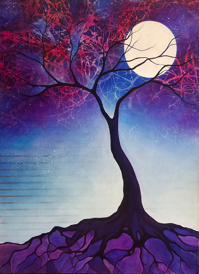 """Jacqueline Claire, """"Tree of Revelation"""", Mixed media on canvas, 30 x 40 inches"""