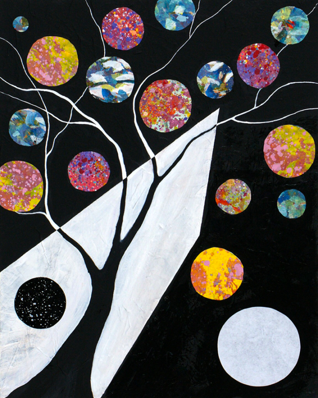 """Jacqueline Claire, """"Cosmic Justice"""", Mixed media on canvas, 16 x 20 inches"""