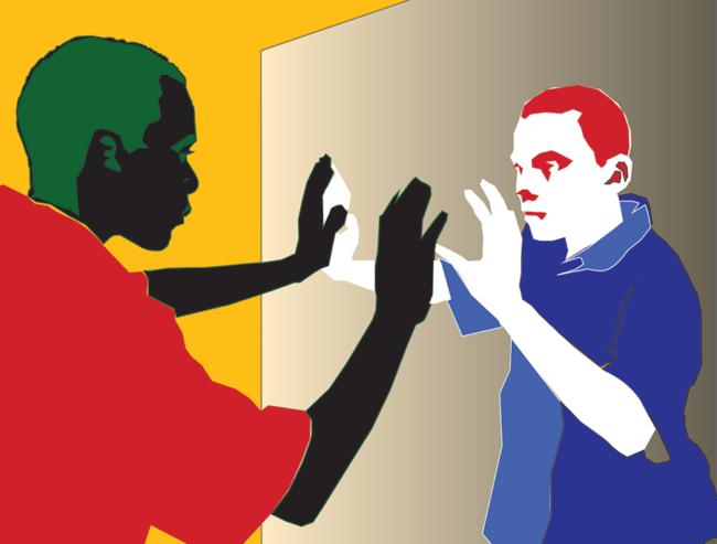 "Nommo Kofi Diop, ""Us in the Mirror"", Digital vector print/ Adobe Illustrator, 8 x 11 inches"