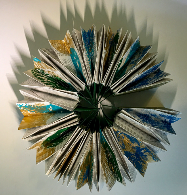"""Belinda K Hill, """"Supporting Justice"""", Book art - paper, 6 x 4 x 2 inches closed, 10 x 10 x 4 open"""