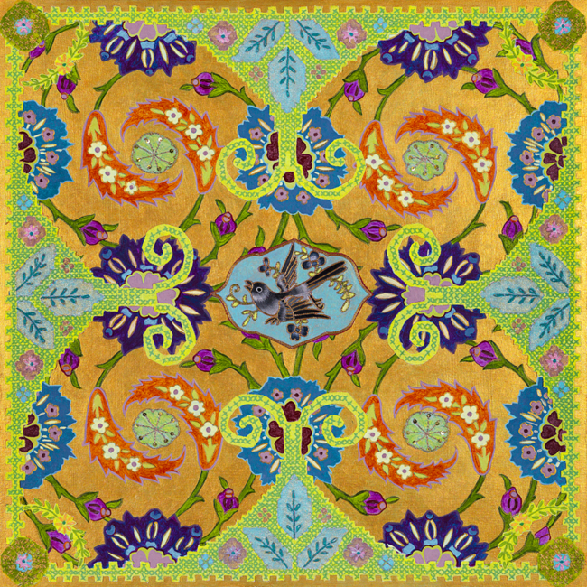 """Beth Yazhari, """"World Quilt - Panel #1"""", Acrylic and vintage textiles on wood panel, 18 x 18 inches"""