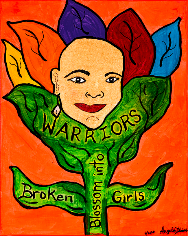 """Angela Denise Lee, """"Broken Girls Blossom into Warriors"""", Acrylic and tempera on canvas, 16 x 20 inches"""