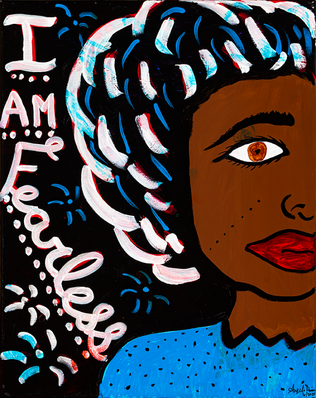 """Angela Denise Lee, """"I am Fearless"""", Acrylic and tempera on canvas, 16 x 20 inches"""