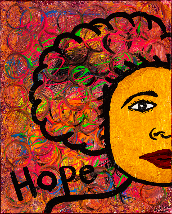 """Angela Denise Lee, """"Hope"""", Acrylic and tempera on canvas, 16 x 20 inches"""