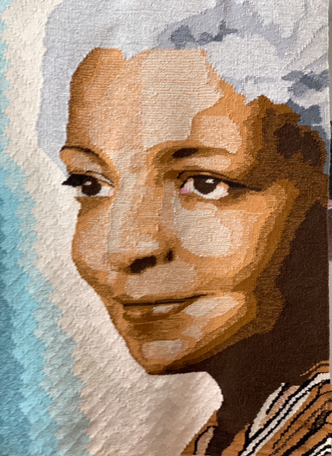 """Ann Booth, """"Portrait of Dr. Elsie Austin"""", Handwoven tapestry wool on cotton warp, 29 x 41 inches"""