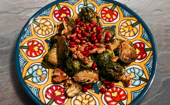 Roasted Brussel Sprouts with Pomegranate and Walnuts