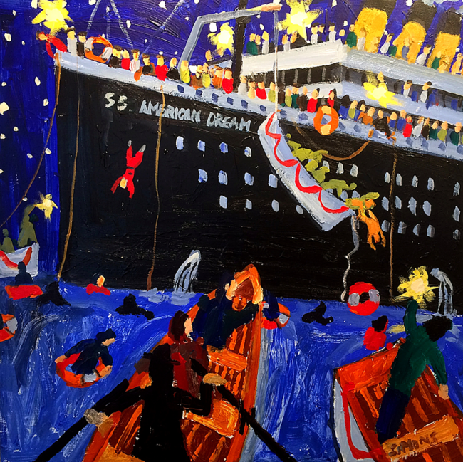 """Brian Simons, """"SS. American Dream"""", Acrylic on canvas, 36 x 36 inches"""