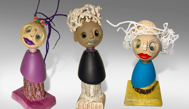 """Titi de Baccarat, """"Miriam, Winnie and Jacky"""", Wood, bark, and plastic, 8 x 6 x 23 in., 4 x 5 x 19 in. and 6 x 9 x 17 in. respectively, Feminine expression"""