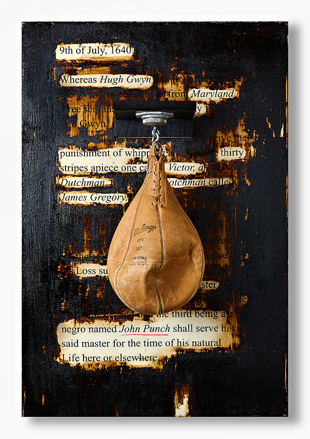 """Masud A Olufani, """"Punched"""", Serigraph and pencil on paper, resin, tar, speed bag, 24 x 36 inches"""