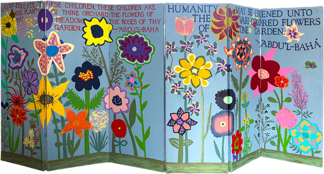 """Barbara Ruys, """"The Community Builds!"""" a community collaborative artwork involving children's classes, Jr. Youth, youth, and adults all participated in painting the flowers of one garden."""