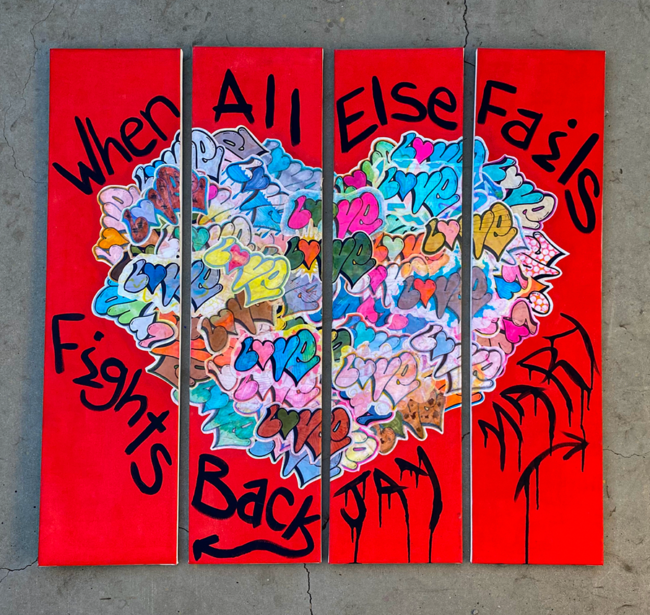 """Mary Sullivan, """"Love Fights Back"""", Acrylic and wheat paste on canvas panels, 11.5 x 47.5 inches"""