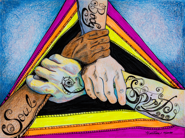 """Martine Hubbard, """"A Human Being: The Unity of Body, Soul and Spirit"""", Colored pencil, markers, and ink, 9 x 12 inches"""