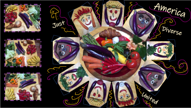 """Anne Perry, """"When We're ALL at the Table"""", Digital photos of vegetables and fruits used in a collage created in PowerPoint"""